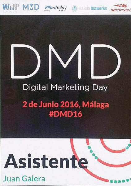 Digital Marketing Day Málaga 2016 acreditación de asistencia