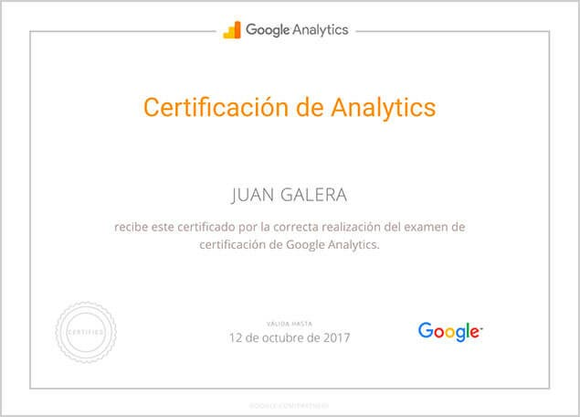 Google Analytics certificado Juan Galera
