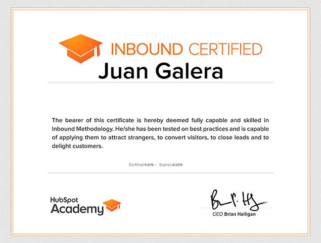 Inbound marketing Hubspot certificado Juan Galera
