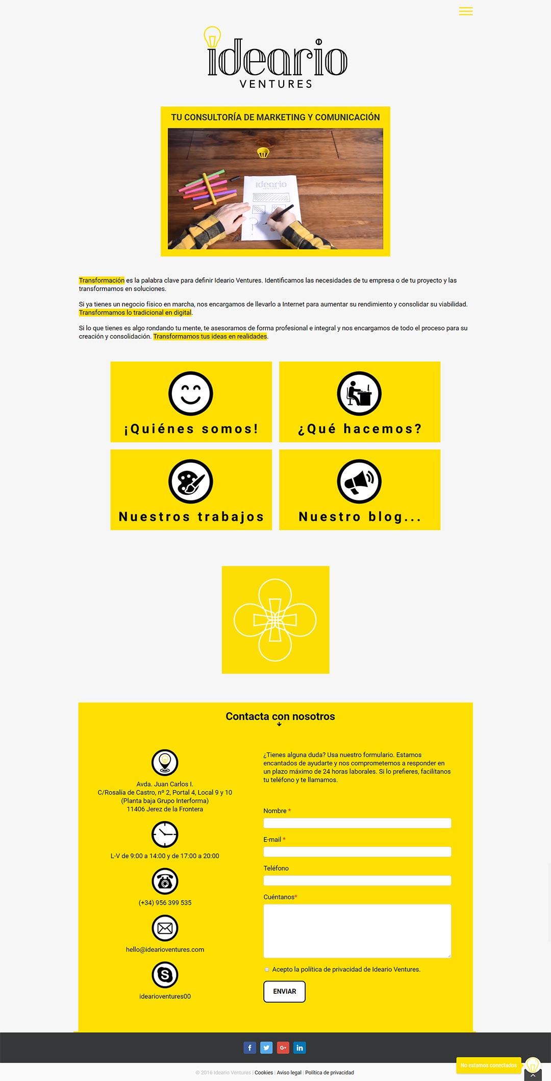 Página web Ideario ventures