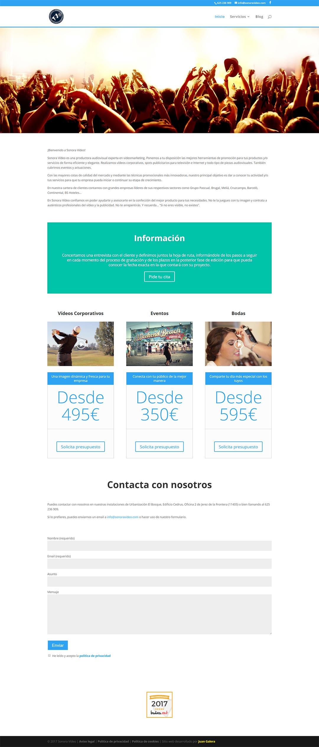Página web Sonora Vídeo