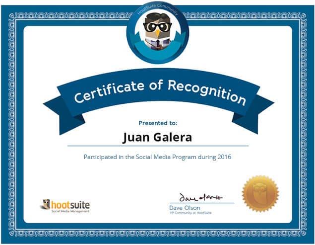Social media Hootsuite certificado Juan Galera