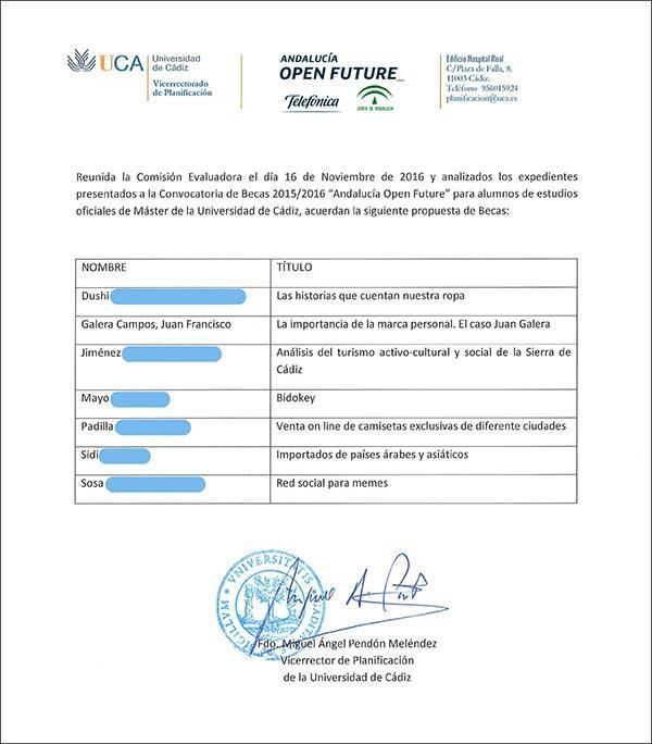 Andalucía Open Future beca listado de ganadores