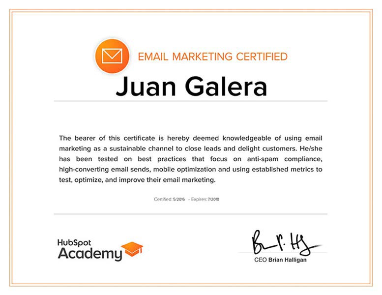 Email marketing Jerez de la Frontera certificado HubSpot