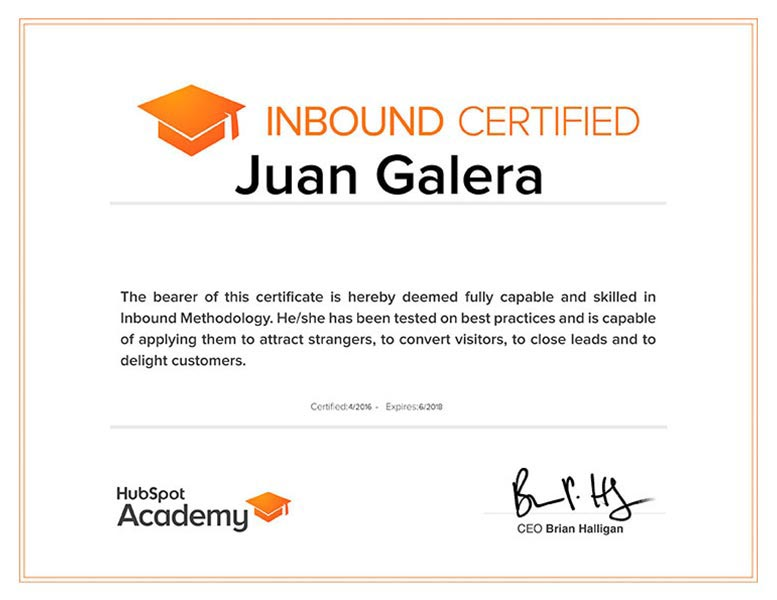 Inbound marketing Jerez de la Frontera certificado HubSpot