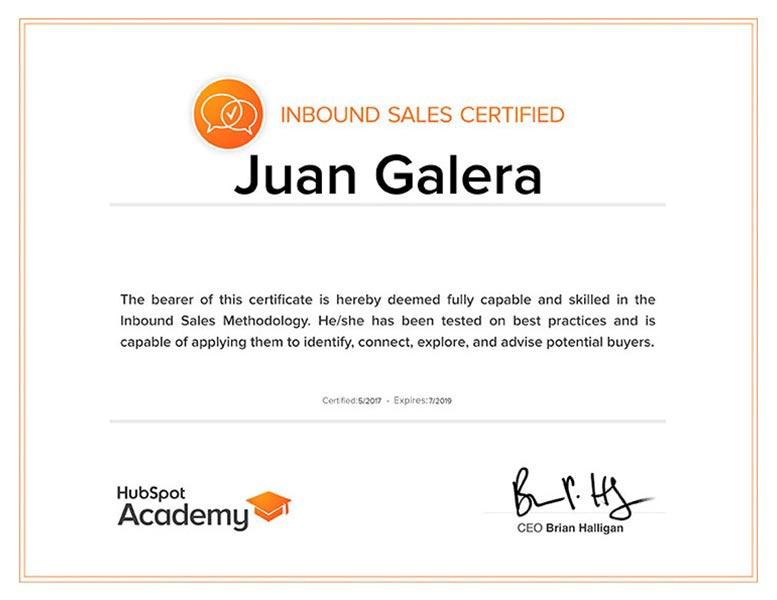 Inbound sales Jerez de la Frontera certificado HubSpot