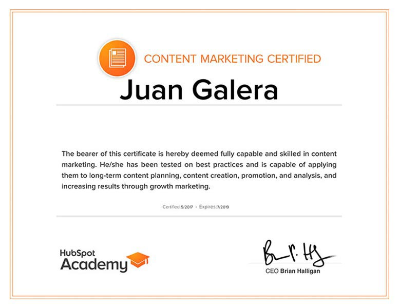 Marketing de contenidos Jerez de la Frontera certificado HubSpot