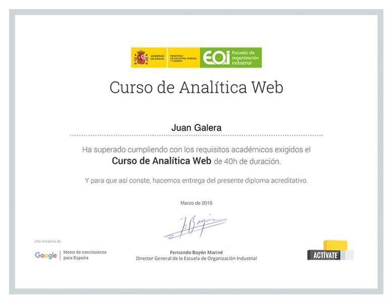 Analítica web Jerez de la Frontera certificado Escuela de Organización Industrial