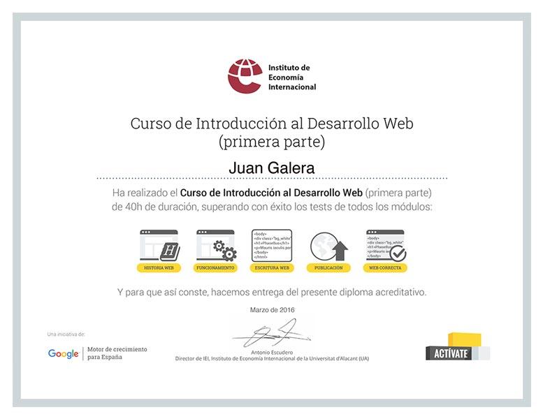 Diseño web Jerez de la Frontera certificado Instituto de Economía Internacional