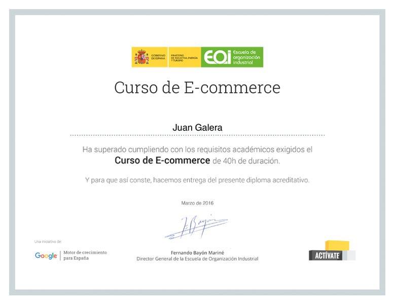 Ecommerce Jerez de la Frontera tienda online certificado Escuela de Organización Industrial