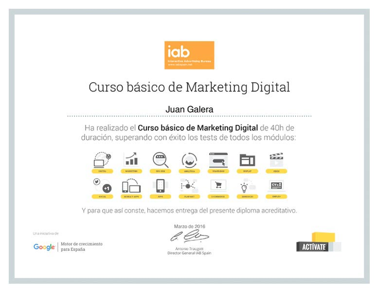 Marketing digital Jerez de la Frontera certificado IAB