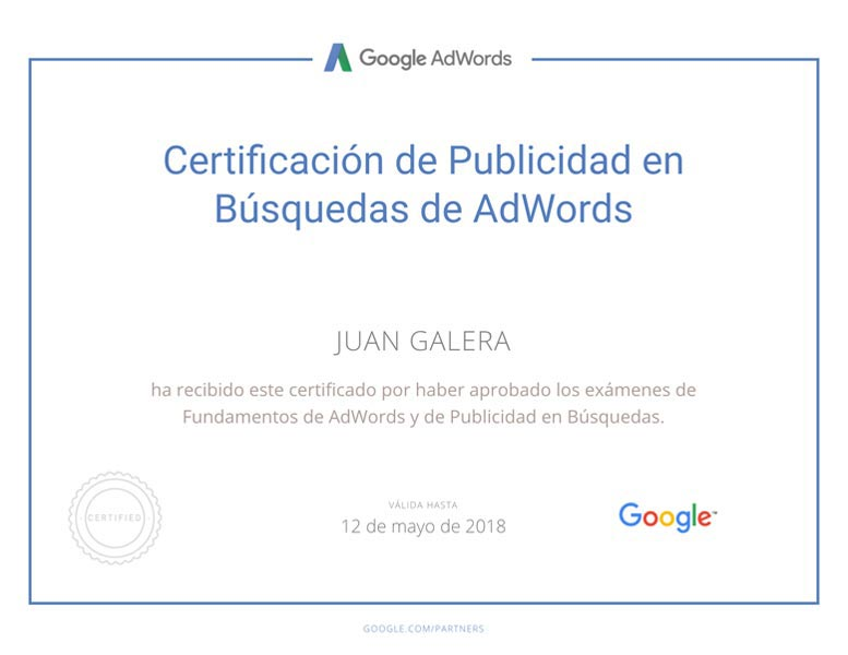 Posicionamiento web SEM Jerez de la Frontera certificado Google Adwords Búsquedas