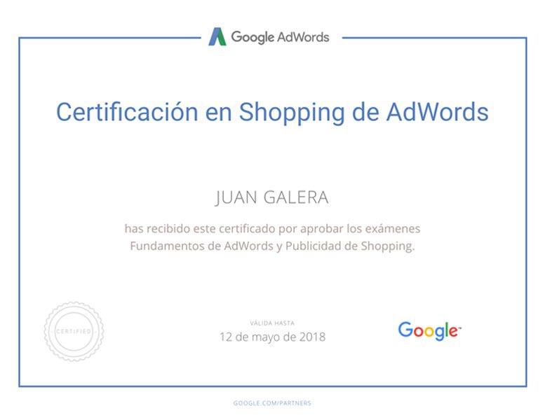 Posicionamiento web SEM Jerez de la Frontera certificado Google Adwords Shopping