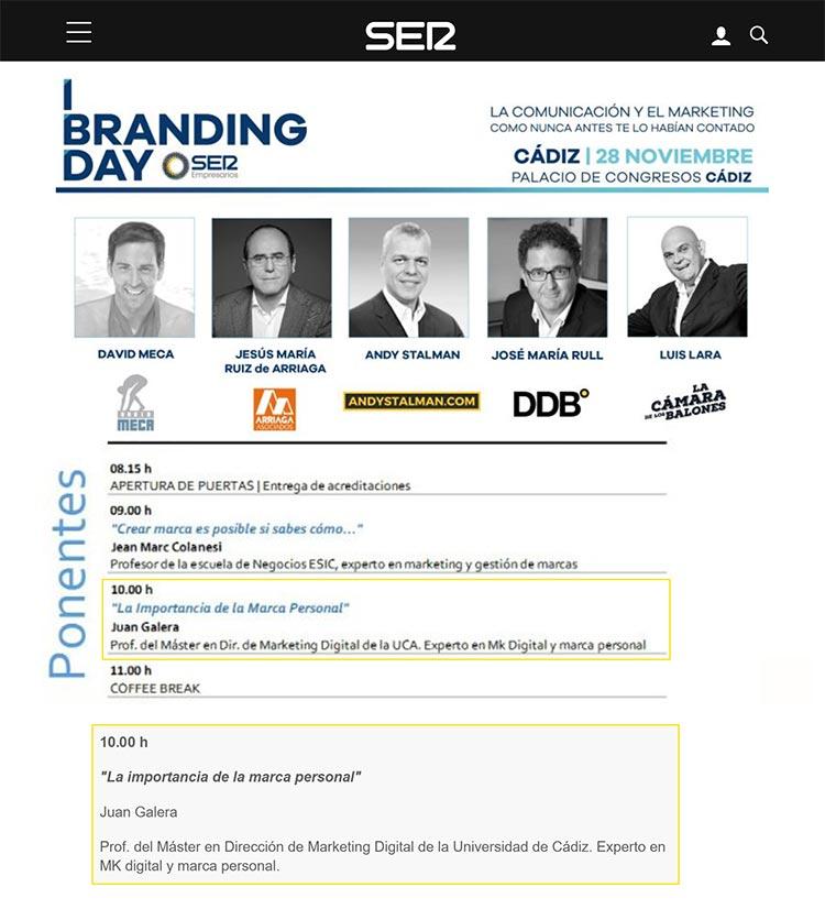 Branding Day Cádiz Cadena SER ponentes