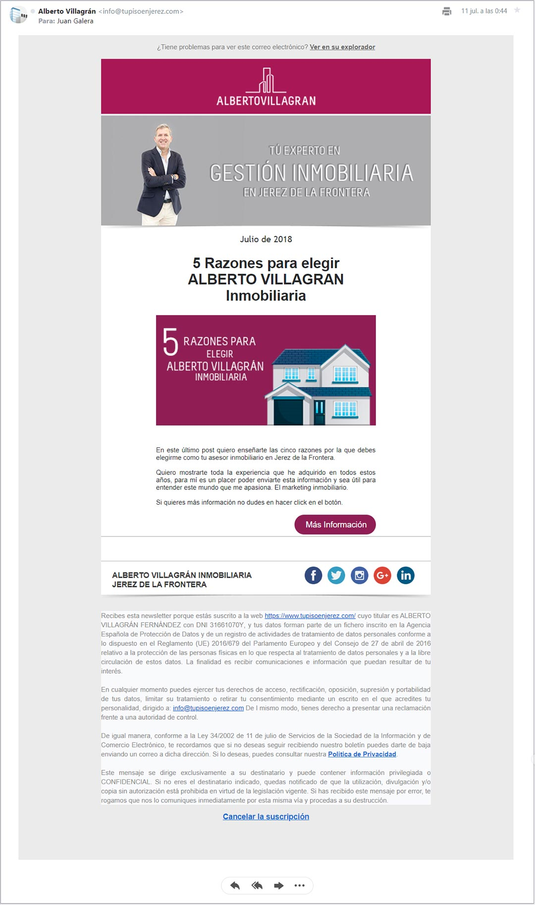 Email marketing y newsletter Alberto Villagrán Inmobiliaria