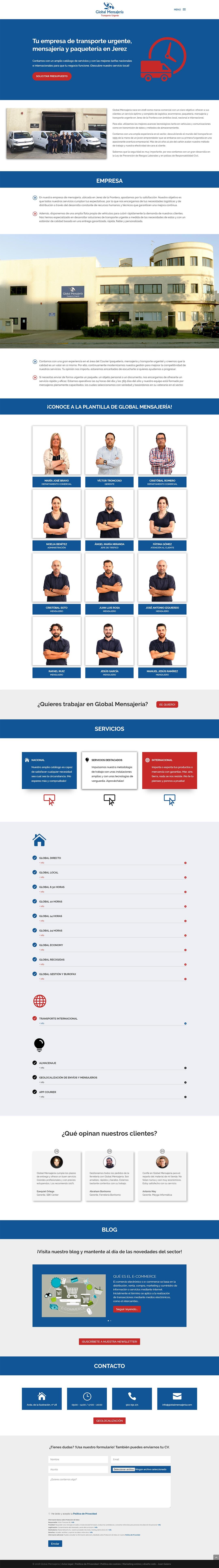 Página web Global Mensajería