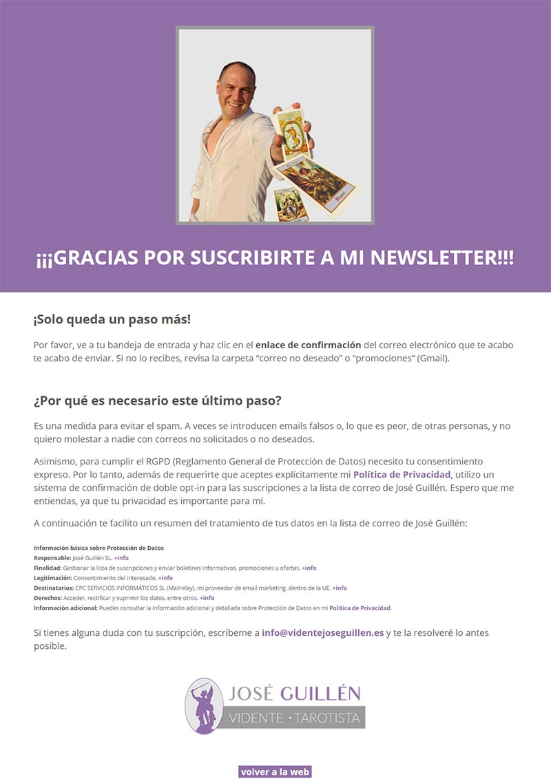José Guillén confirmación newsletter