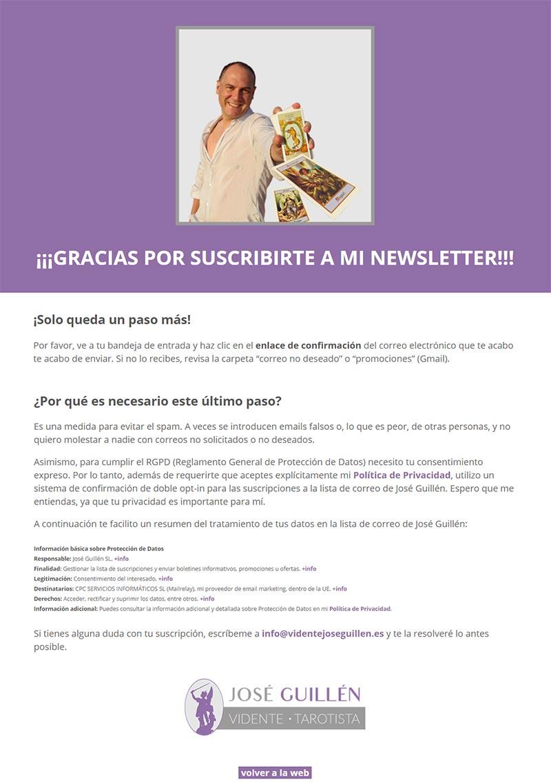 José Guillén confirmación newsletter