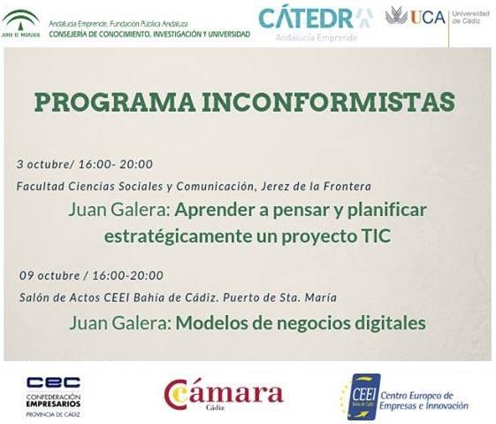 Cátedra Andalucía Emprende cartel programa Inconformistas