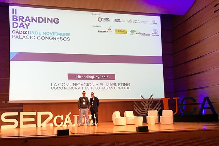 Juan Galera y Juan José Mier-Terán escenario Branding Day Cádiz 2018