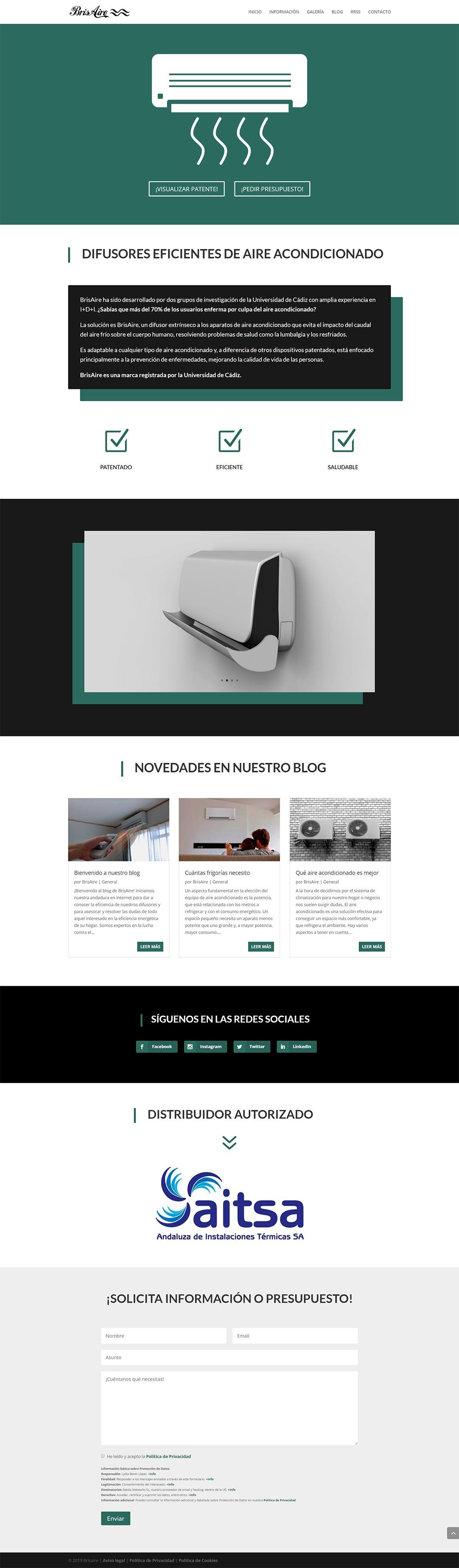 Página web BrisAire