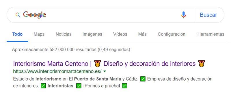 Posicionamiento web SEO Interiorismo Marta Centeno