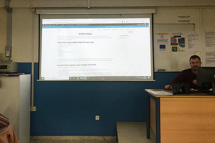 Curso diseño web y ecommerce Instituto Andrés Benítez Aviso Legal vista front office