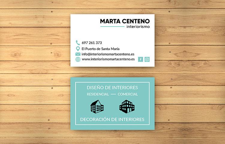 Diseño gráfico e imprenta tarjetas de visita Interiorismo Marta Centeno