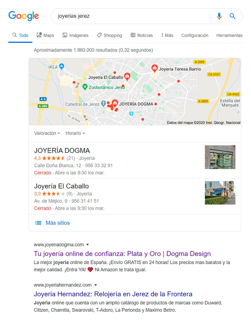 Posicionamiento web SEO Joyería Dogma