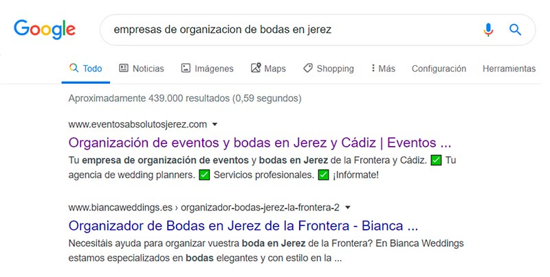 SEO y posicionamiento web Eventos Absolutos