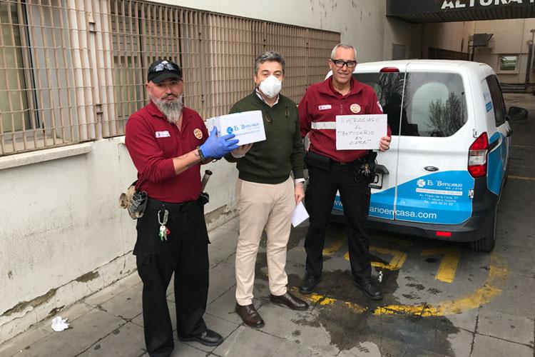 Acción Responsabilidad Social Corporativa El Boticario en Casa Coronavirus COVID-19 Juan Carlos Herrera y personal seguridad